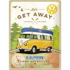 VW Bulli - Let's Get Away! - Znak 30x40cm
